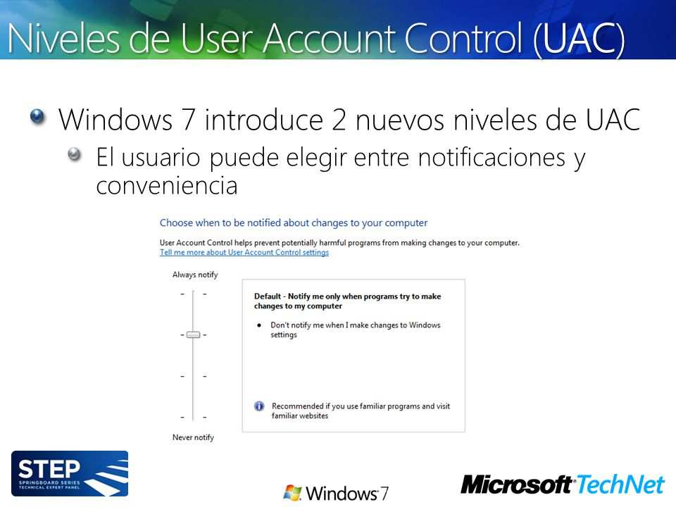 Niveles de User Account Control (UAC)