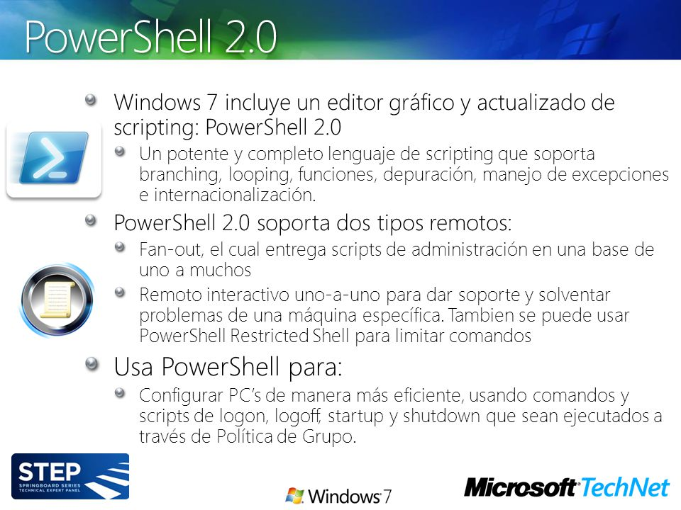 PowerShell 2.0 Usa PowerShell para: