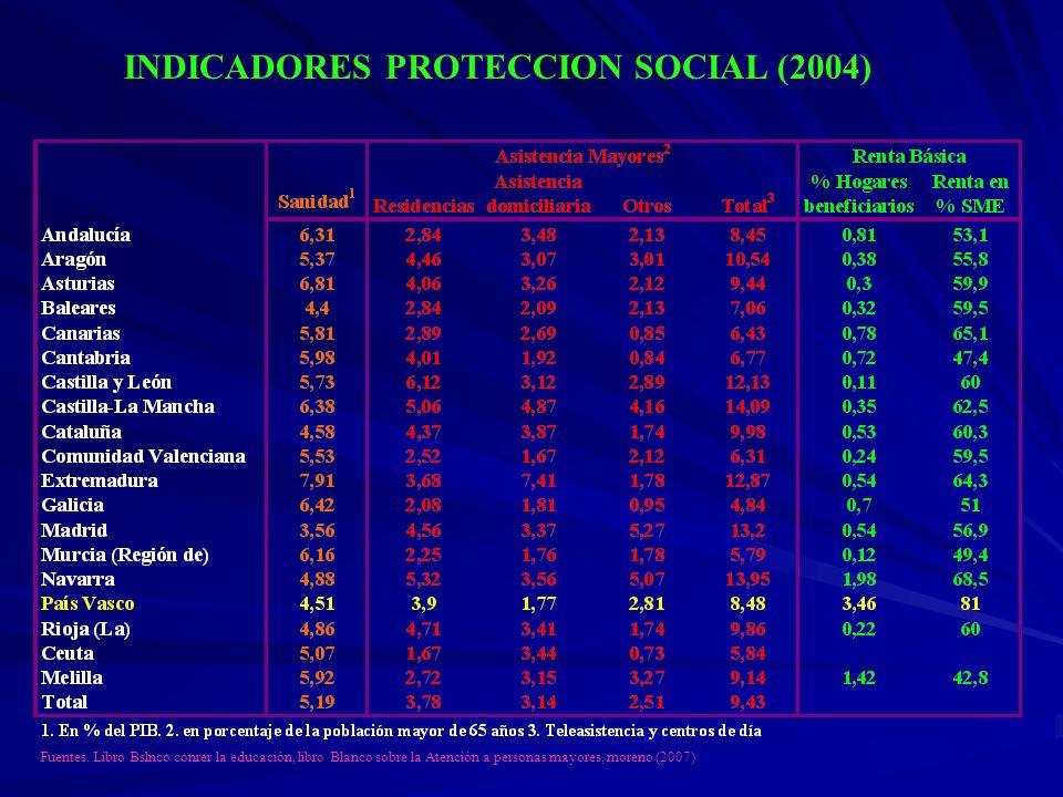 INDICADORES PROTECCION SOCIAL (2004)