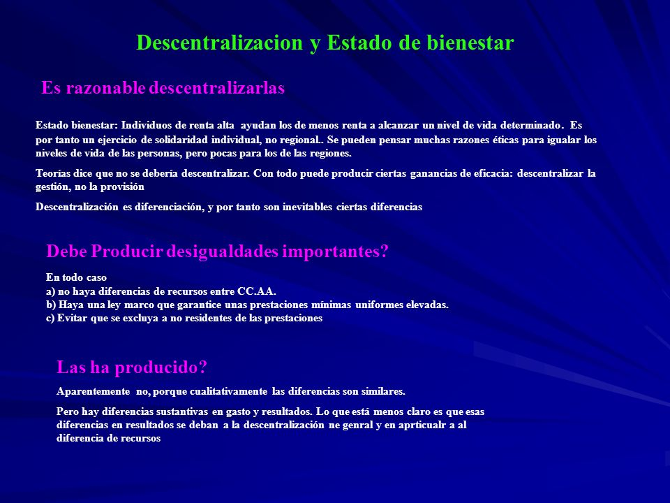 Descentralizacion y Estado de bienestar