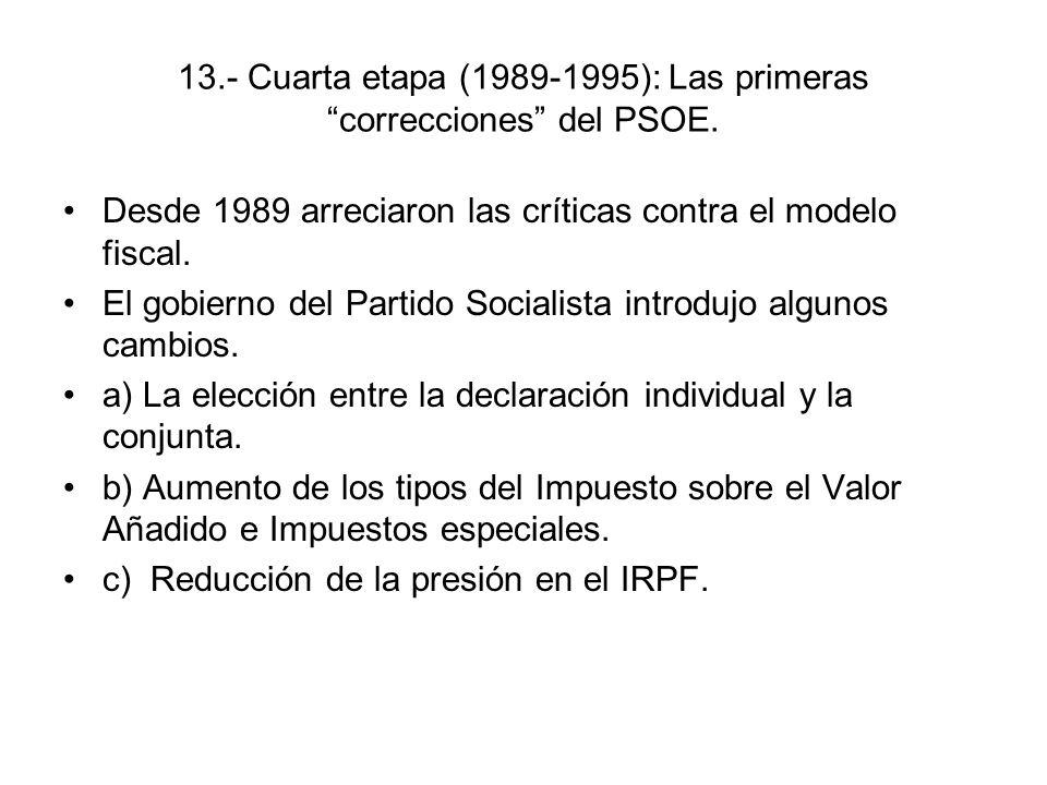 13.- Cuarta etapa (1989-1995): Las primeras correcciones del PSOE.