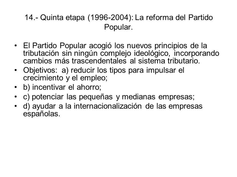 14.- Quinta etapa (1996-2004): La reforma del Partido Popular.