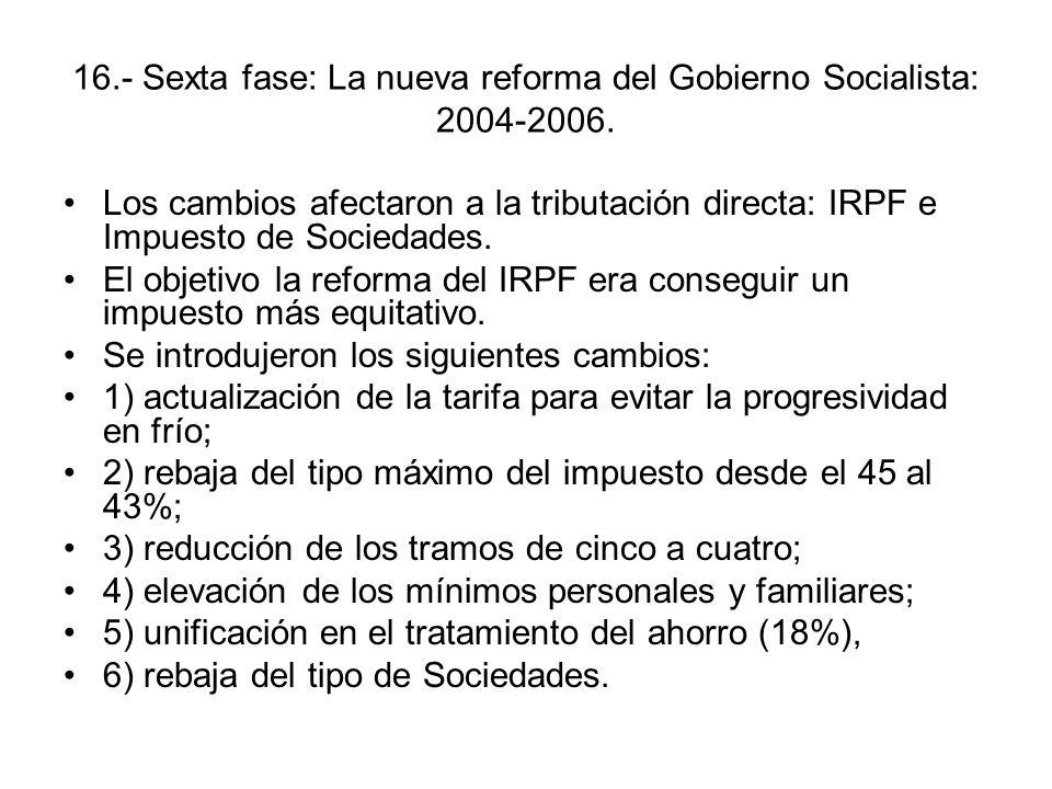 16.- Sexta fase: La nueva reforma del Gobierno Socialista: 2004-2006.