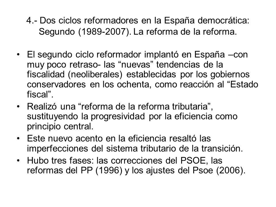 4.- Dos ciclos reformadores en la España democrática: Segundo (1989-2007). La reforma de la reforma.