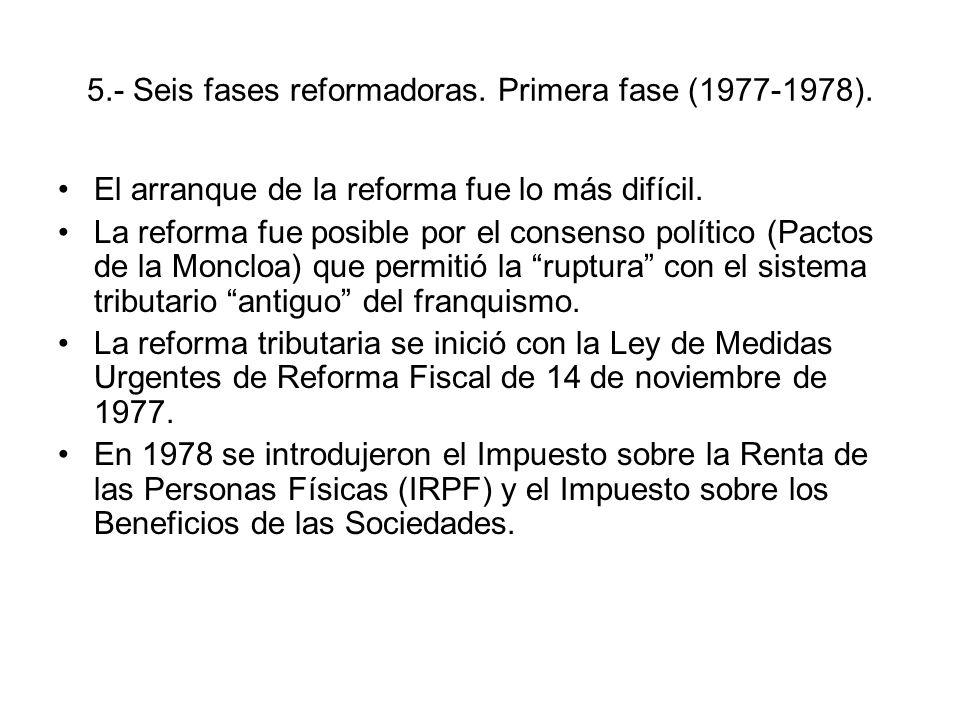 5.- Seis fases reformadoras. Primera fase (1977-1978).