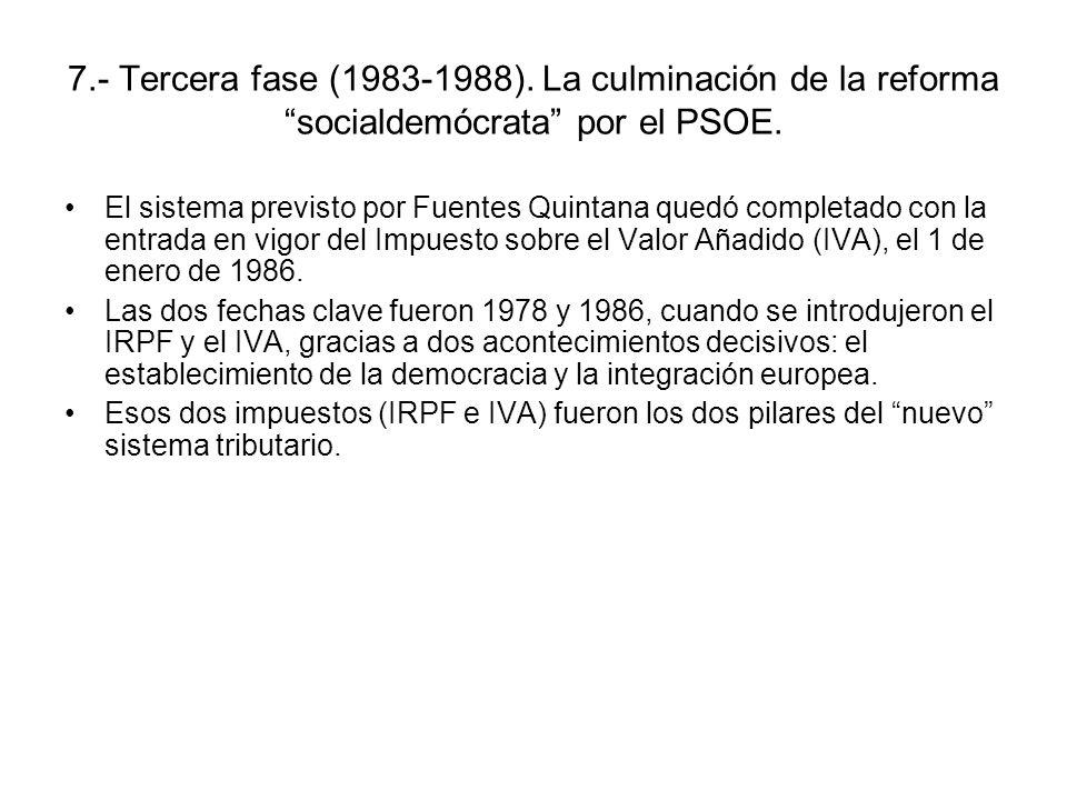 7.- Tercera fase (1983-1988). La culminación de la reforma socialdemócrata por el PSOE.
