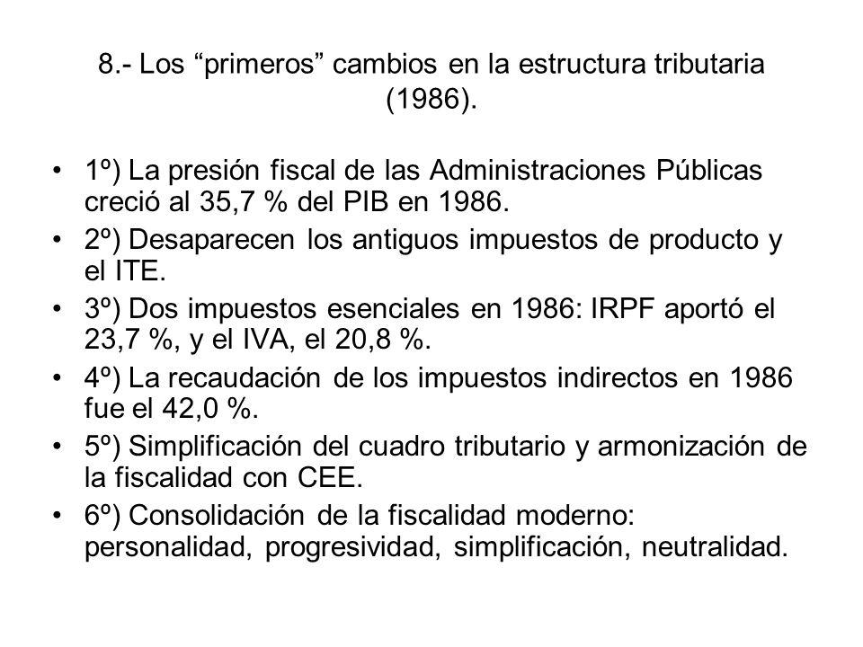 8.- Los primeros cambios en la estructura tributaria (1986).