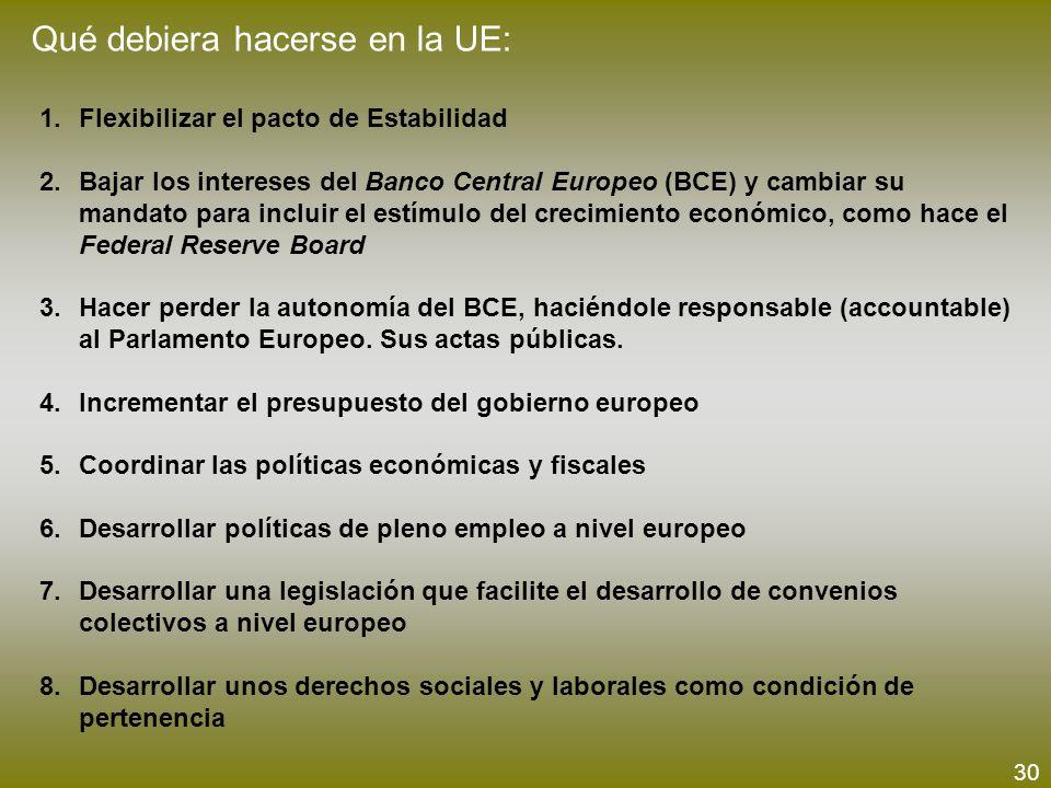Qué debiera hacerse en la UE: