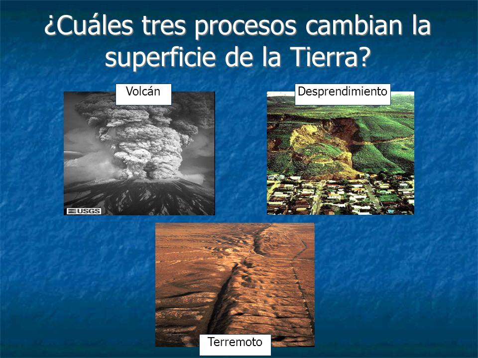 ¿Cuáles tres procesos cambian la superficie de la Tierra