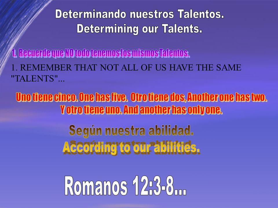 Romanos 12:3-8... Determinando nuestros Talentos.