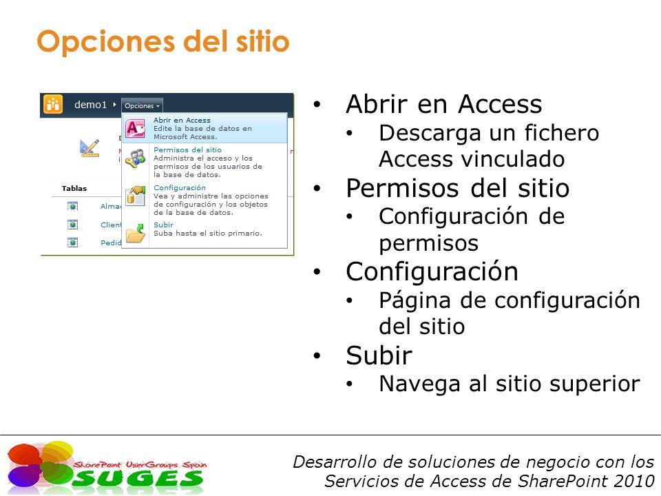 Opciones del sitio Abrir en Access Permisos del sitio Configuración