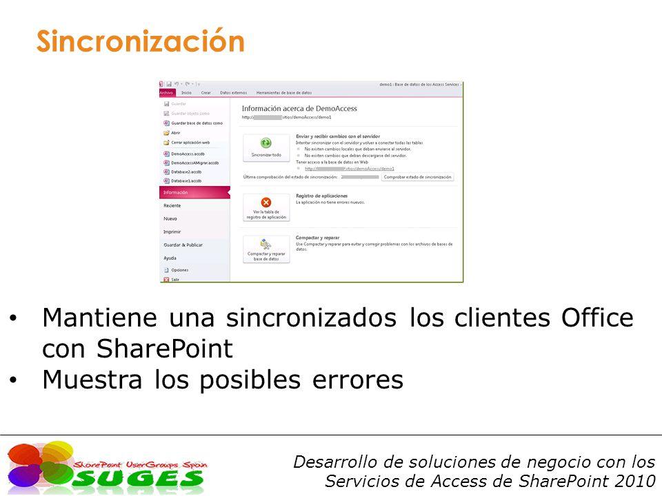 Sincronización Mantiene una sincronizados los clientes Office con SharePoint.