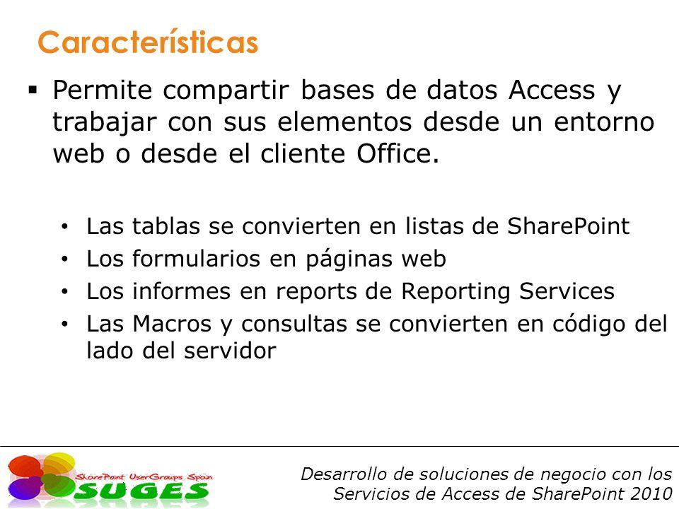 Características Permite compartir bases de datos Access y trabajar con sus elementos desde un entorno web o desde el cliente Office.
