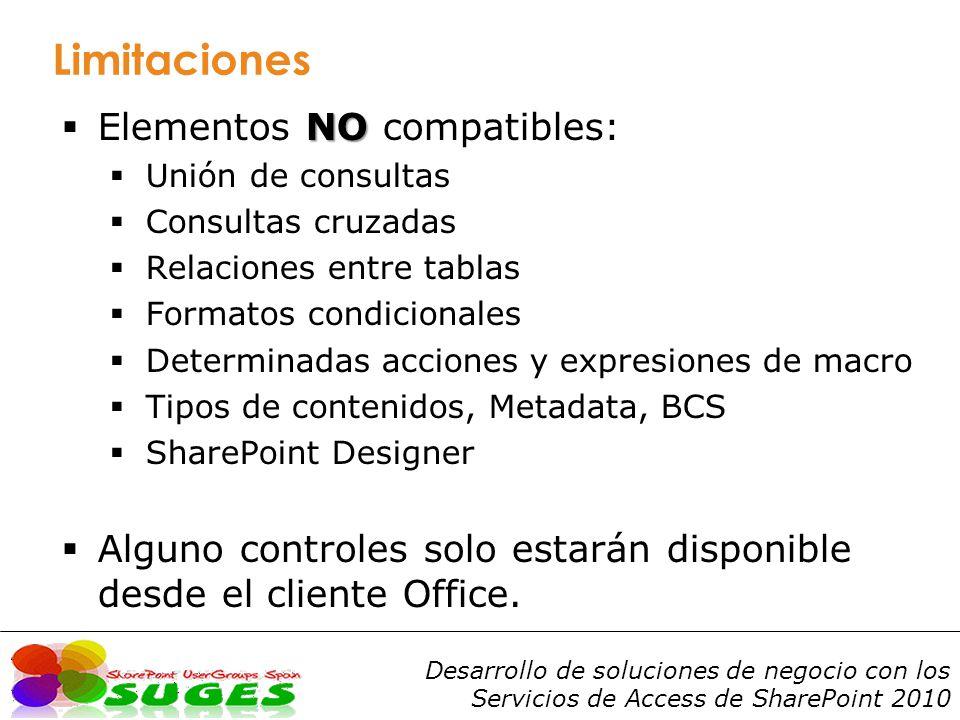 Limitaciones Elementos NO compatibles: