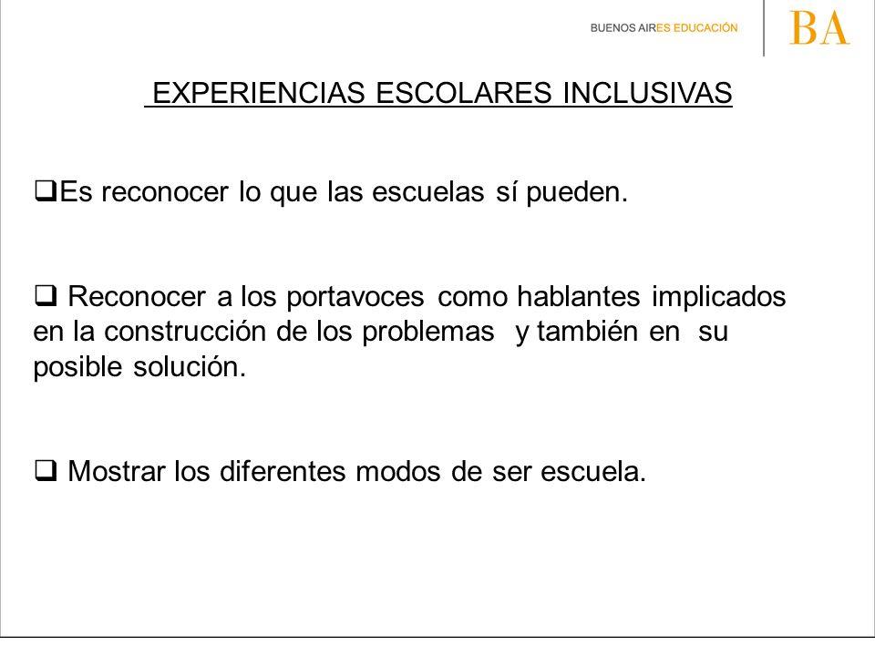 EXPERIENCIAS ESCOLARES INCLUSIVAS