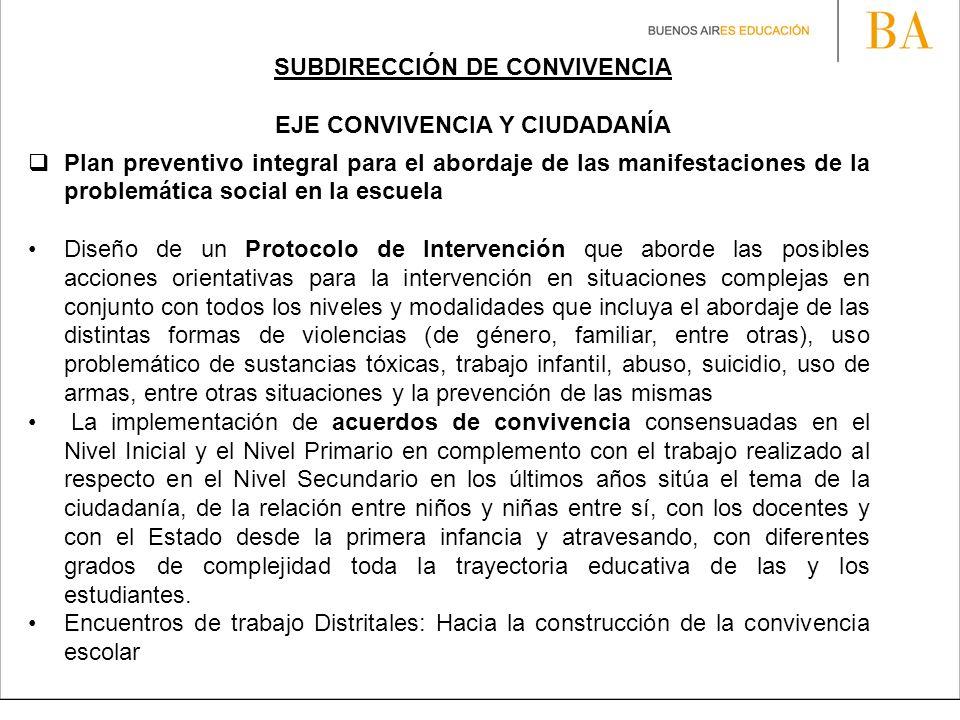 SUBDIRECCIÓN DE CONVIVENCIA
