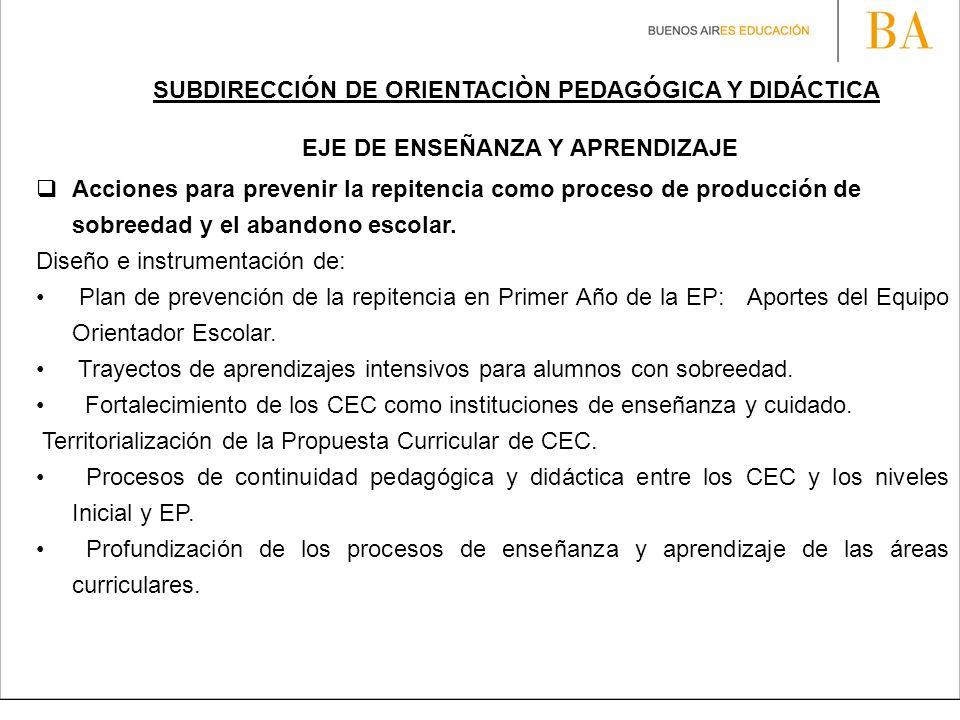 SUBDIRECCIÓN DE ORIENTACIÒN PEDAGÓGICA Y DIDÁCTICA
