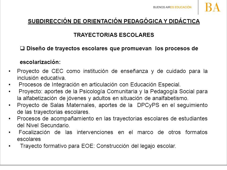 SUBDIRECCIÓN DE ORIENTACIÓN PEDAGÓGICA Y DIDÁCTICA TRAYECTORIAS ESCOLARES