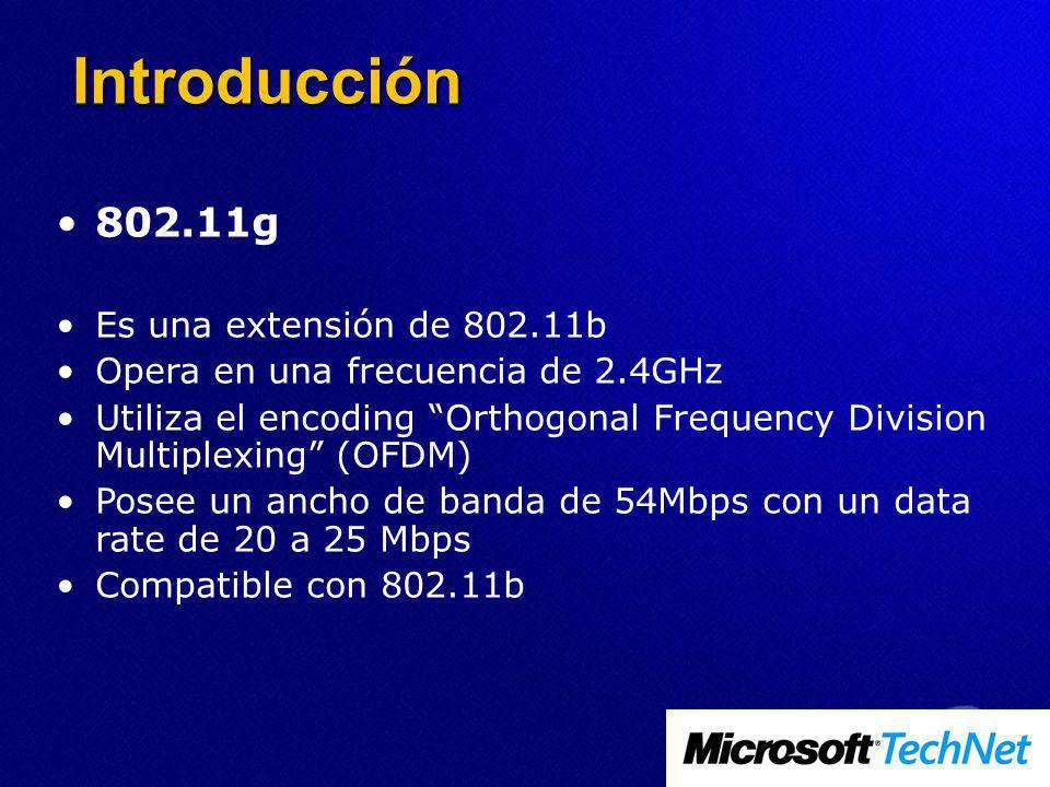Introducción 802.11g Es una extensión de 802.11b