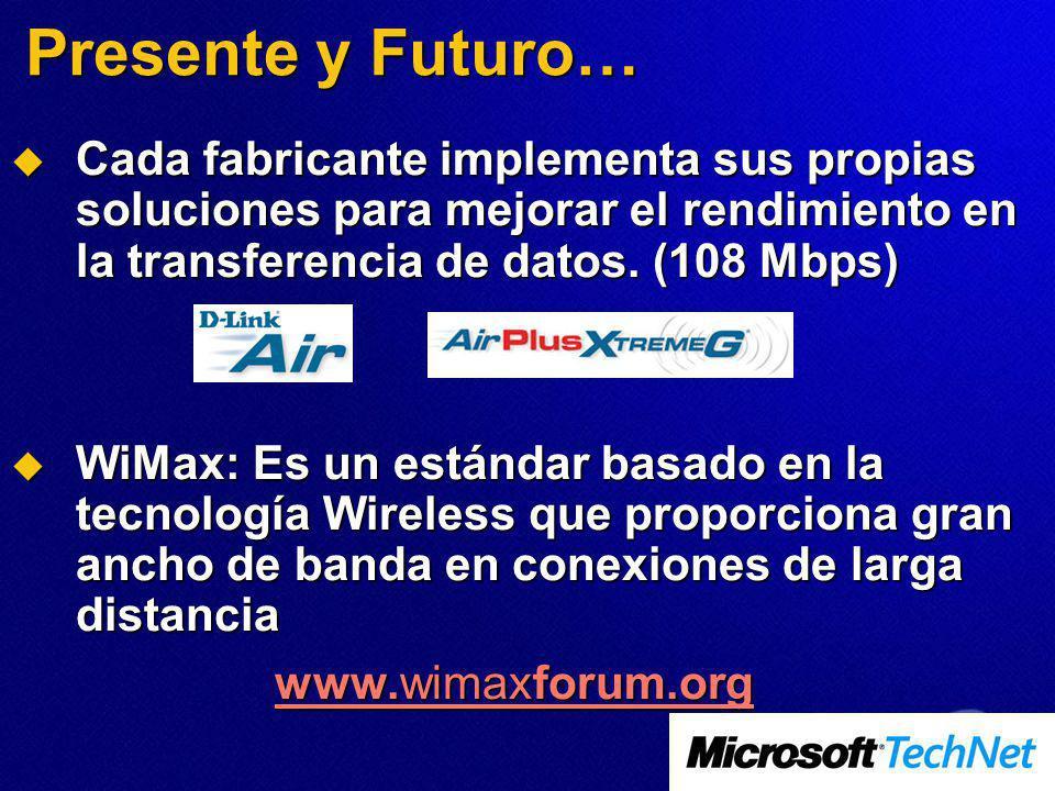 Presente y Futuro… Cada fabricante implementa sus propias soluciones para mejorar el rendimiento en la transferencia de datos. (108 Mbps)