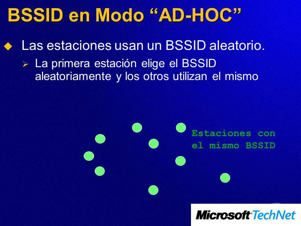 BSSID en Modo AD-HOC Las estaciones usan un BSSID aleatorio.
