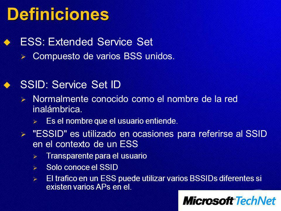Definiciones ESS: Extended Service Set SSID: Service Set ID