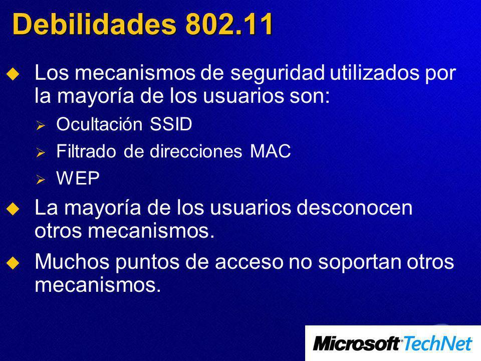 Debilidades 802.11 Los mecanismos de seguridad utilizados por la mayoría de los usuarios son: Ocultación SSID.