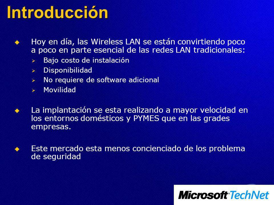 Introducción Hoy en día, las Wireless LAN se están convirtiendo poco a poco en parte esencial de las redes LAN tradicionales: