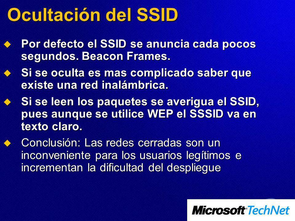 Ocultación del SSID Por defecto el SSID se anuncia cada pocos segundos. Beacon Frames.