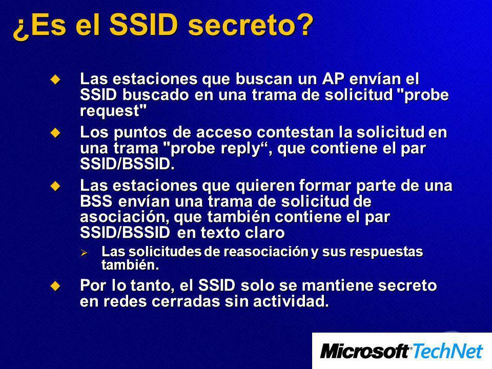 ¿Es el SSID secreto Las estaciones que buscan un AP envían el SSID buscado en una trama de solicitud probe request