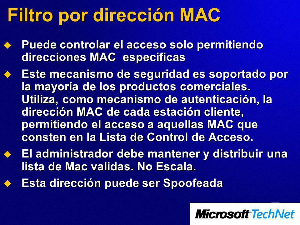Filtro por dirección MAC