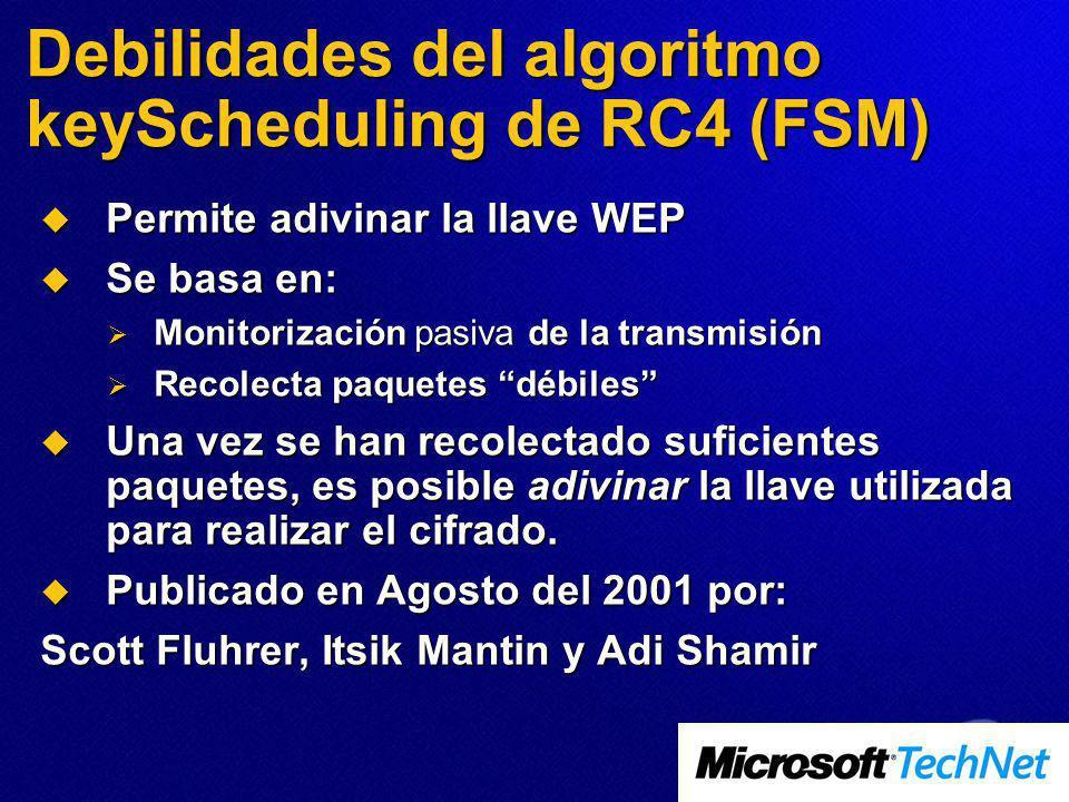 Debilidades del algoritmo keyScheduling de RC4 (FSM)