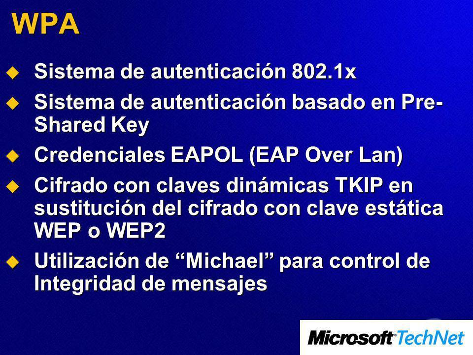 WPA Sistema de autenticación 802.1x