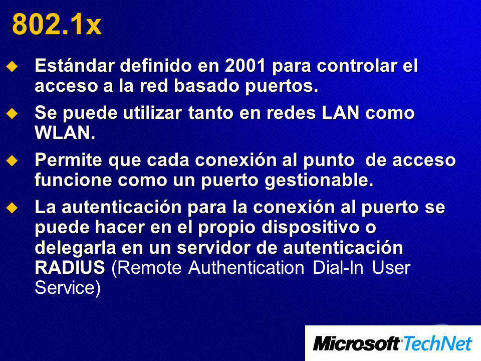 802.1x Estándar definido en 2001 para controlar el acceso a la red basado puertos. Se puede utilizar tanto en redes LAN como WLAN.