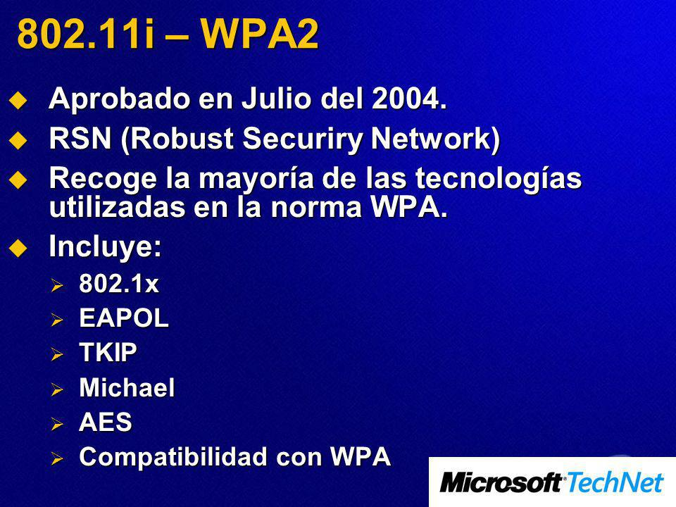 802.11i – WPA2 Aprobado en Julio del 2004.