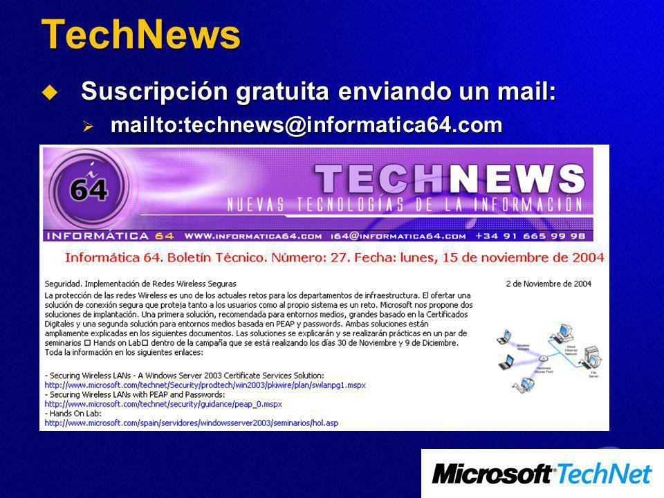 TechNews Suscripción gratuita enviando un mail: