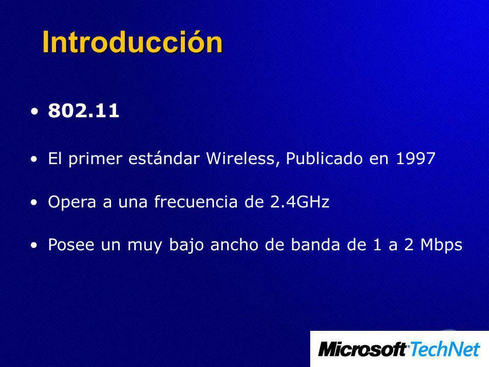 Introducción 802.11 El primer estándar Wireless, Publicado en 1997