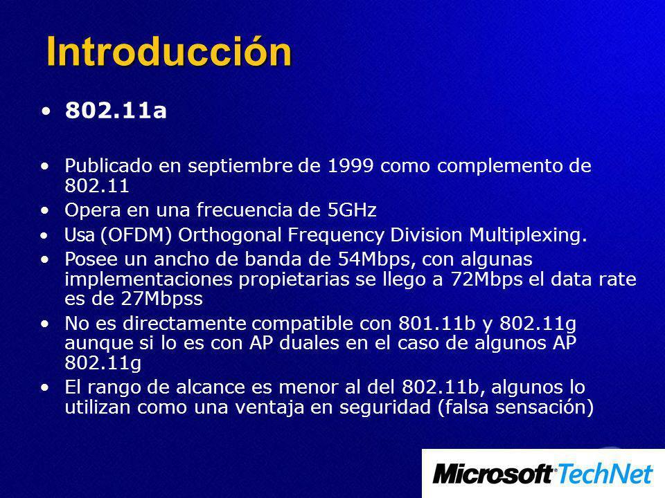 Introducción 802.11a. Publicado en septiembre de 1999 como complemento de 802.11. Opera en una frecuencia de 5GHz.