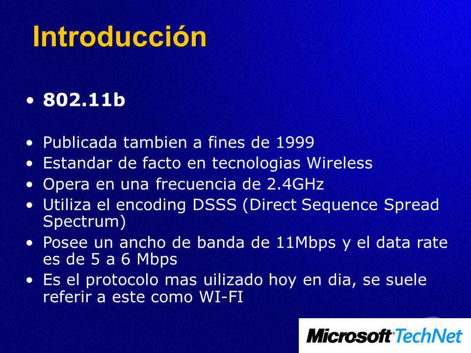 Introducción 802.11b Publicada tambien a fines de 1999