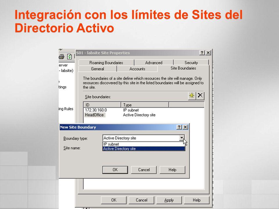 Integración con los límites de Sites del Directorio Activo