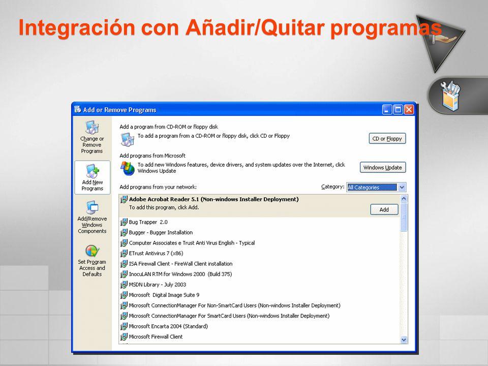 Integración con Añadir/Quitar programas