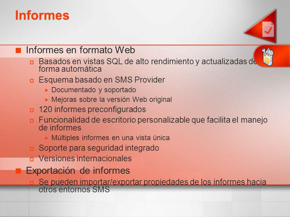 Informes Informes en formato Web Exportación de informes