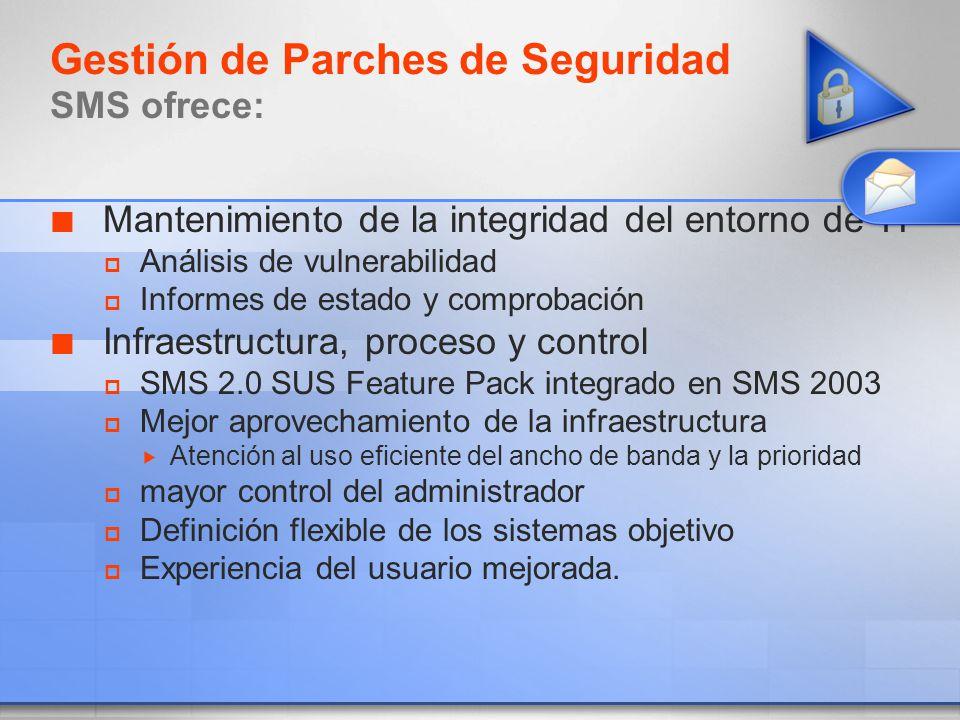 Gestión de Parches de Seguridad SMS ofrece: