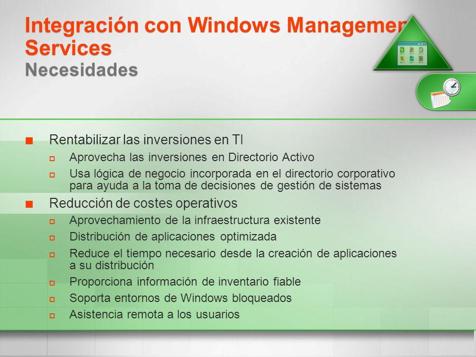 Integración con Windows Management Services Necesidades