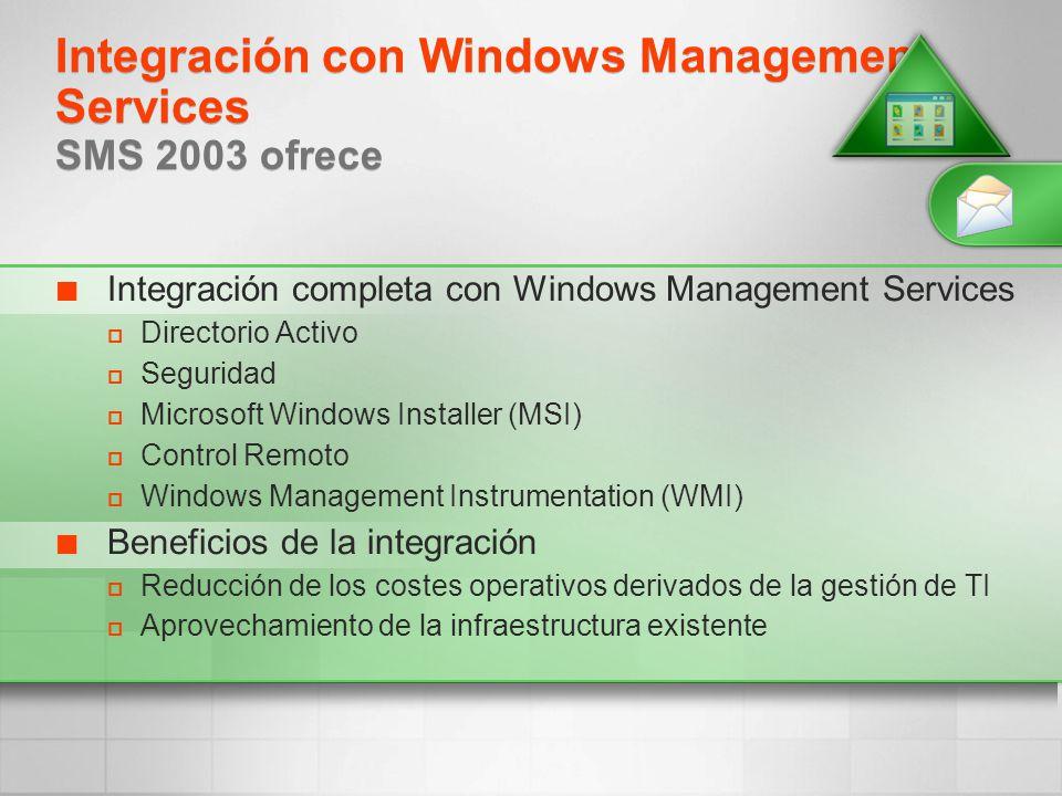 Integración con Windows Management Services SMS 2003 ofrece