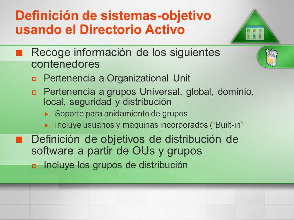 Definición de sistemas-objetivo usando el Directorio Activo
