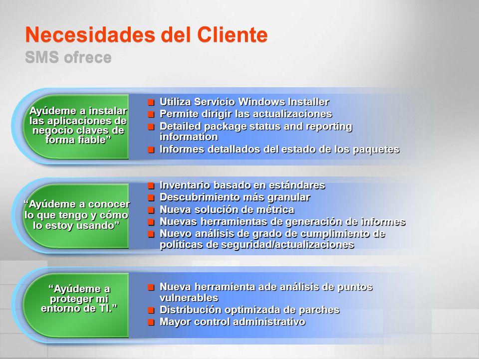 Necesidades del Cliente SMS ofrece
