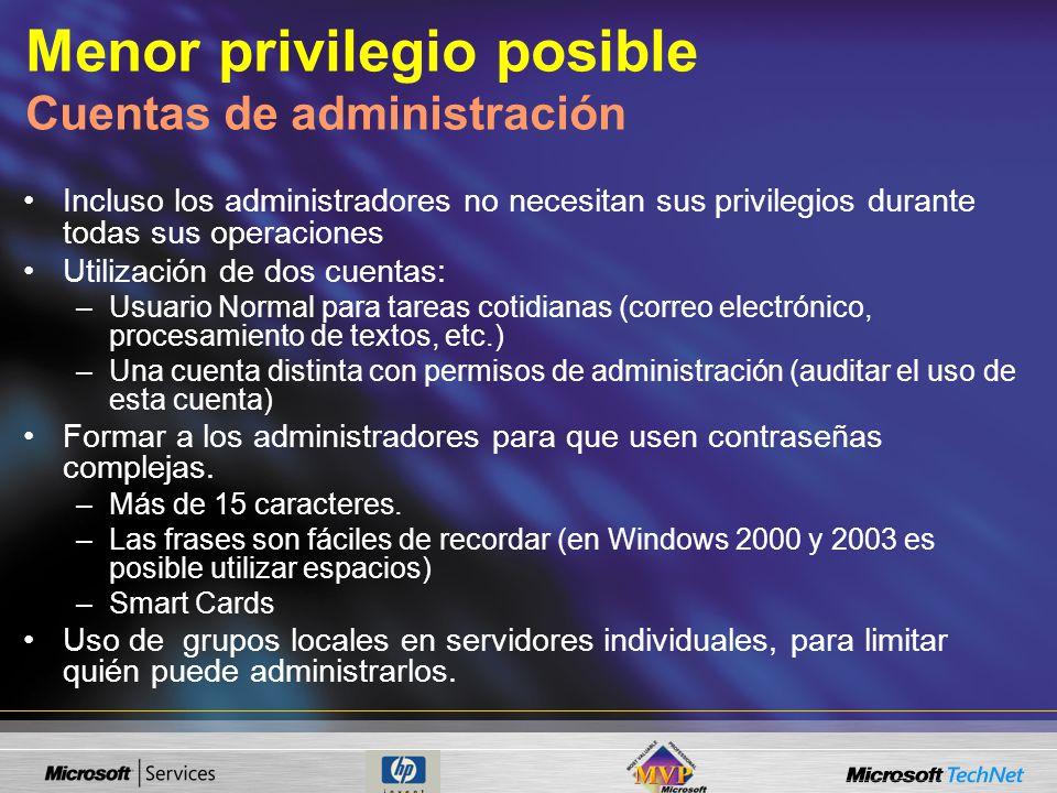 Menor privilegio posible Cuentas de administración
