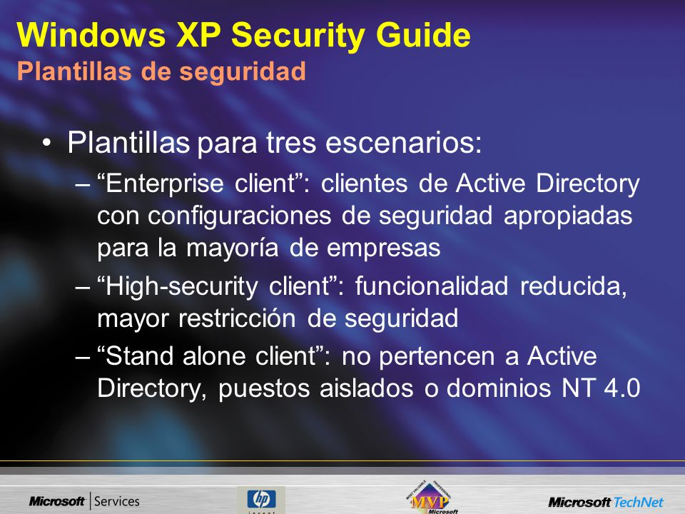 Windows XP Security Guide Plantillas de seguridad