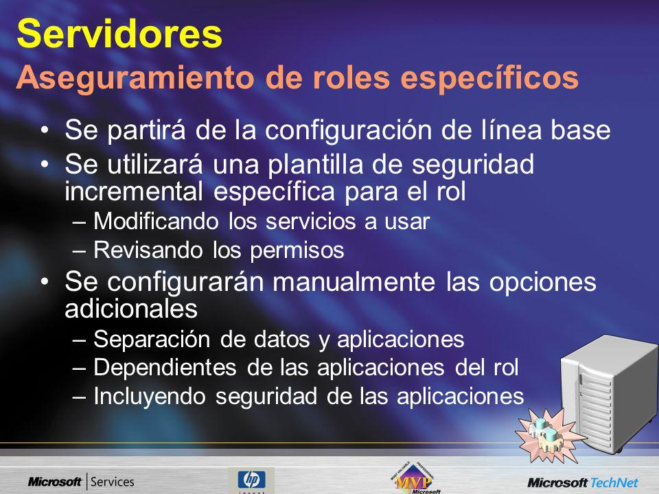 Servidores Aseguramiento de roles específicos